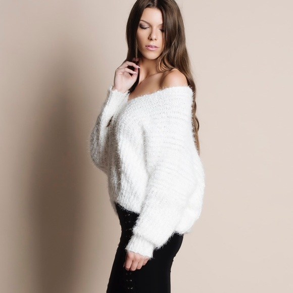 Bare Anthology - NBF ❤ Oversized Low Back White Fuzzy Sweater ...