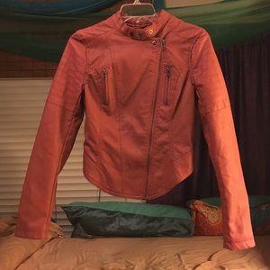 Orange Faux Leather Motorcycle Jacket