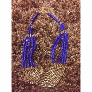 Brand new blue and gold-ish statement necklace