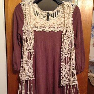 *SET* Soprano Boho Dress & Full Tilt Crochet Vest