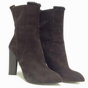 YSL Brown Suede Heel Boots