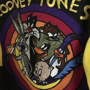 36b91b285 Jeff Hamilton 100% silk looney tunes jacket