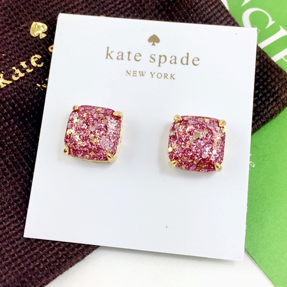 132e167323370 Kate Spade rose pink glitter square studs earrings NWT