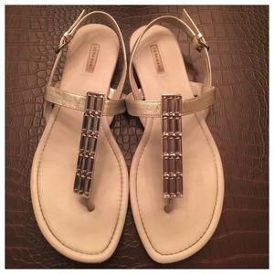 Vera Wang Shoes - Vera Wang Light Grey Crystal Embellished Sandals