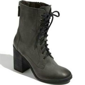 Boutique 9 Distressed Gray Combat Lace-Up Boots