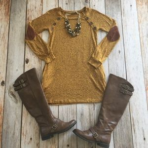 Sweaters - 💕Sale💕 Yellow mustard elbow patch button tunic