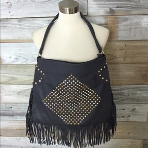 {Boutique} Large Studded Fringe Shoulder Bag