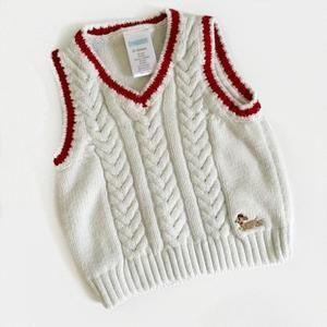 Gymboree white sweater vest w/red trim &little dog