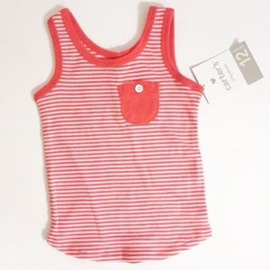 NWT! Carters red and white striped tank top with pocket