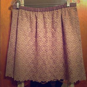 J. Crew Crochet Overlay Mini Skirt, Large, Lilac