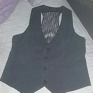 Maurices grey and black plaid vest