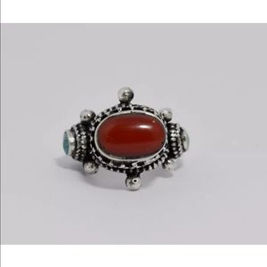 Jewelry - Sterling silver ring with coral and turquoise