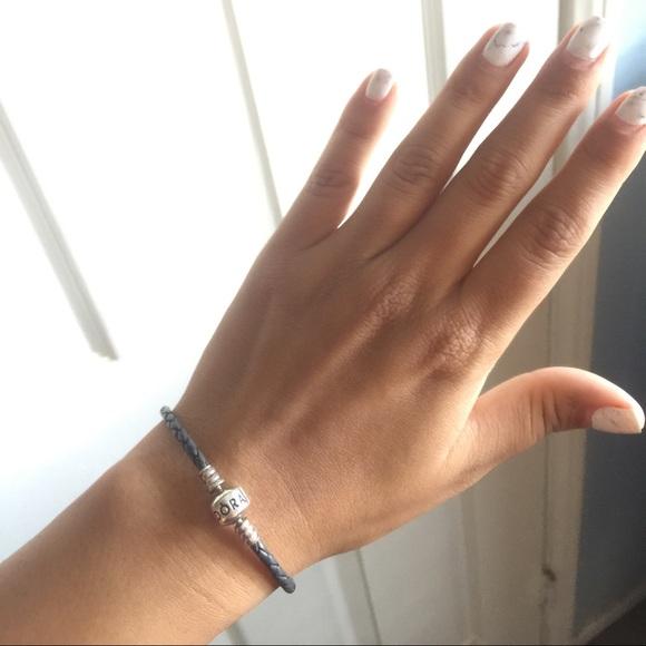 059dbb22d Pandora Jewelry | Gray Leather Bracelet | Poshmark