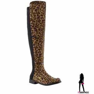 Unisa Shoes - Unisa Gillean Suede Leopard Over the Knee Boots 7