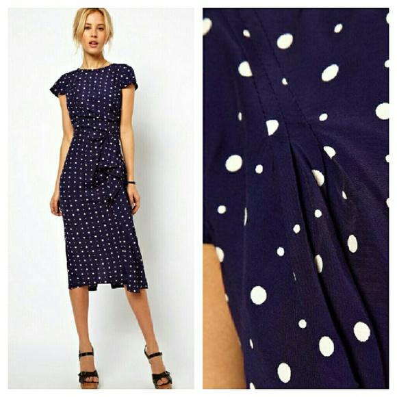 71dc1f0543f ASOS Vintage Style Navy Polka Dot Midi Dress