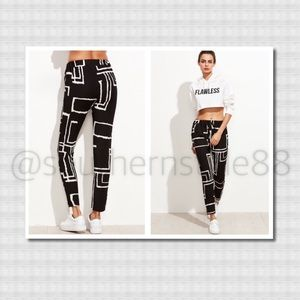 Black Geometric Print Drawstring Pants XL BNWT