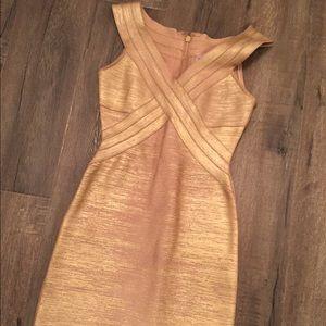 AUTHENTIC Herve Leger Gold Metallic Dress XS