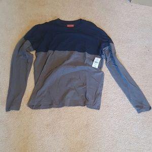 Saks Fifth Avenue Long Sleeve Tshirt Blue Grey Med