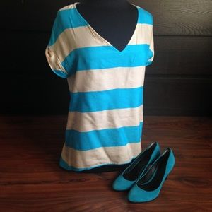 Zara woman teal and tan silk blend stripe blouse