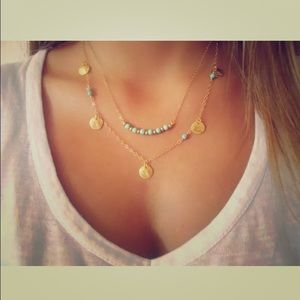Jewelry - Turquoise beads on gold necklace