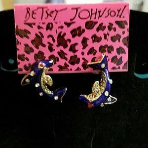 Betsey Johnson blue crystal dolphin earrings