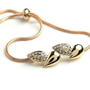 Jewelry - Boho Rustic Gold & Crystal Leaf Toggle Bracelet