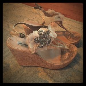 Not Rated Shoes - not rated wedge cork sandals size 8.5 tan