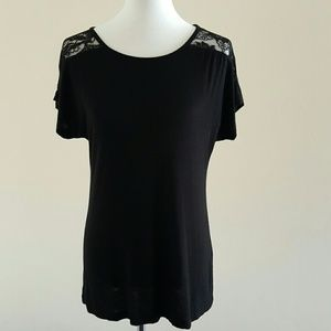 Tinley Road Tops - Black Tee with Lace Sleeves
