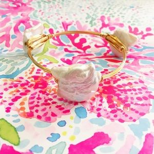 Natural coin fresh water pearls wirewrapped bangle