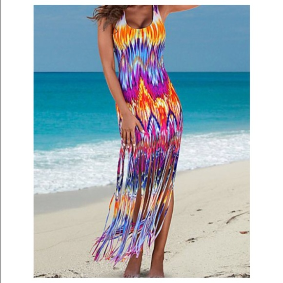 Bright Fringe Maxi Dress