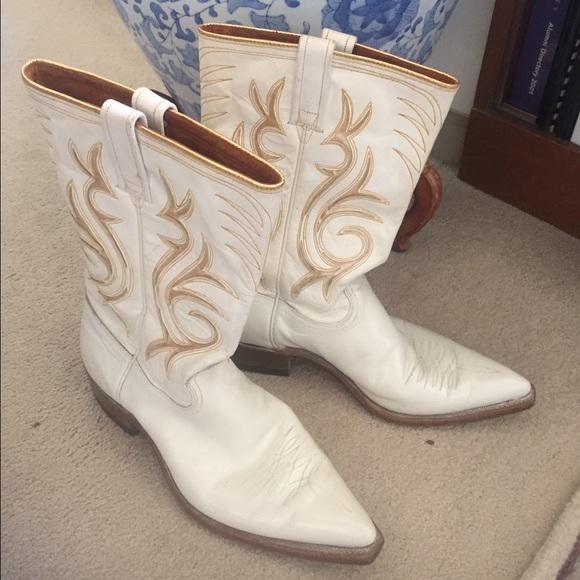 Vintage Acme Cowboy Boots Off White