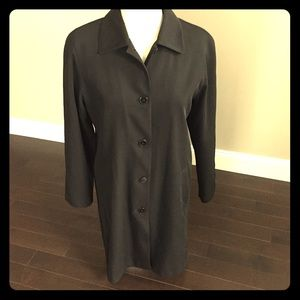 Gallery Jackets & Blazers - Gallery black knee length button down raincoat
