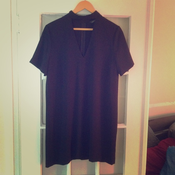 Zara Shift Dress with Choker Collar Black L NWT a32cc3a03