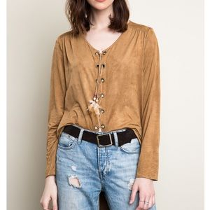 Sea Fever Faux Suede Lace Up Top