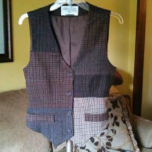 Vintage Tops - Vintage 1990s Wool Vest in Beautiful Fall Colors