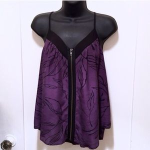 Silence + noise Black/Purple zip up going out top