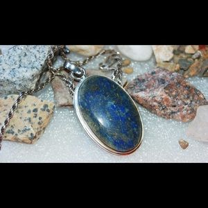 "handmade & handcrafted gemstone jewelry Jewelry - Pretty Blue Gold Streak Lapis Lazuli Pendant 2.2"""