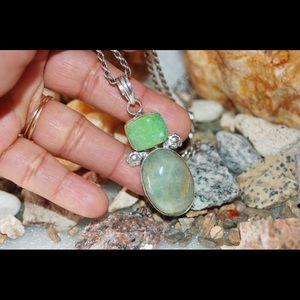 """Jewelry - Drusy & Prehnite Agate Pendant 2.2"""""""