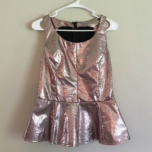 Charlotte Russe Tops - Metallic Faux Leather Peplum Top