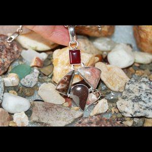 "handmade & handcrafted gemstone jewelry Jewelry - Onyx,Picasso Jasper & Rhodonite Pendant 2.4"""
