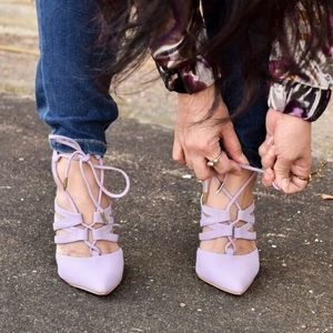 Amiclubwear Shoes - Lavender Lace-Up Gladiator Heels