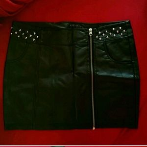Faux leather mini skirt with studding
