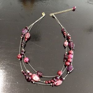 Jewelry - Burgundy Wine Color Necklace Earrings Set