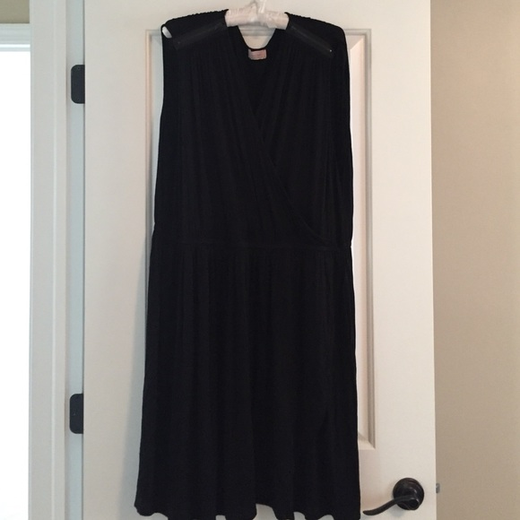 Plus Size Vneck Black Cotton Tank Dress