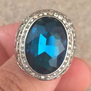 Jewelry - New silver plated ring size 8 sapphire stone