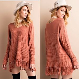  Cinnamon Frayed Fringe Sweater