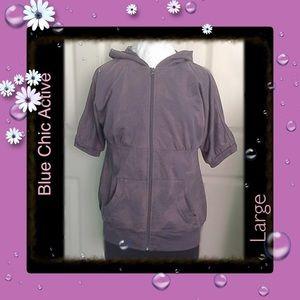 Blu Chic Tops - Gray Tye Dye / Short Sleeve / Hoodie / sz Large