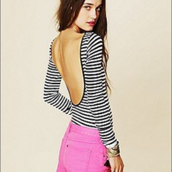 d216942f0cf9d5 Free People Tops - Free People Black and White Stripe Shirt Backless