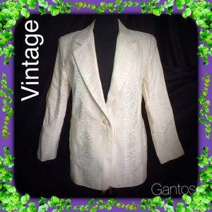 Vintage Jackets & Blazers - Cream Brocade Jacket / Blazer / VINTAGE / Medium