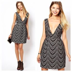 Asos Collection Deep V Bonded Lace Dress